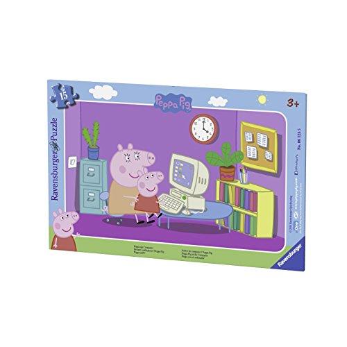 Ravensburger Kinderpuzzle 06123 - Peppa am Computer - Rahmenpuzzle
