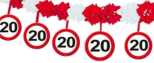 20. Geburtstag Girlande Verkehrsschild mit Hängern (4mtr)