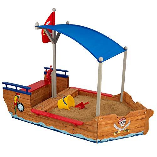 KidKraft 128 Piratenschiff-Sandkasten aus Holz,...
