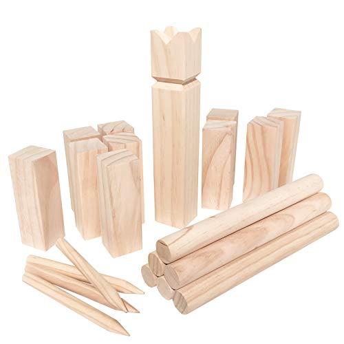 WELLGRO® Kubb Spiel 22-TLG. - für 2-12 Spieler, massiv Holz, Wikingerspiel inkl. Spielanleitung und...