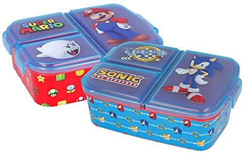 2er Pack Sandwichtücher mit Fächern von Sonic und Super Mario –...