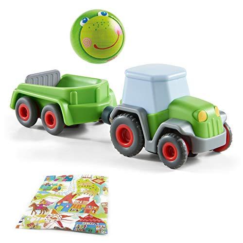 Haba Kullerbü Traktor mit Anhänger und Holzkugel Frosch Fabian...