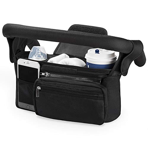 Kinderwagen Organizer Universal mit Isolierten Getränkehalter/Becherhalter, Momcozy Buggy Kinderwagentasche...