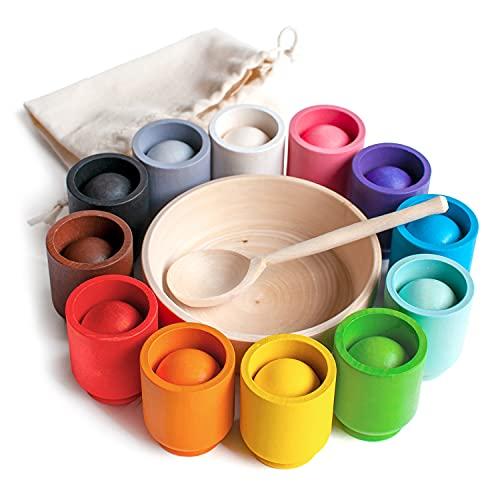 Ulanik Bälle in Tassen Montessori Spielzeug Holz Sorter Spiel 12...