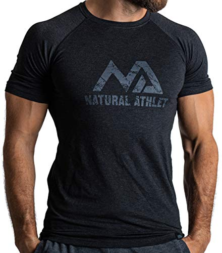 Herren Fitness T-Shirt meliert - Männer Kurzarm Shirt für Gym &...