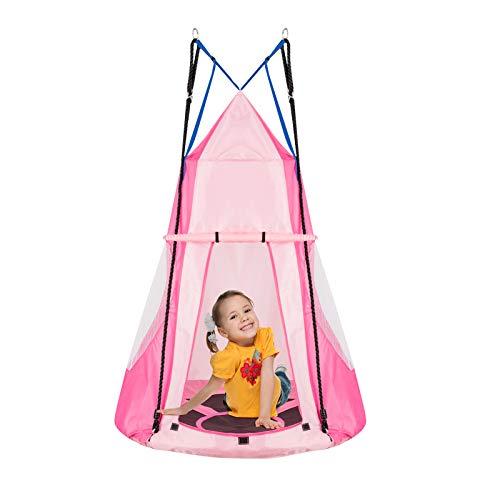 DREAMADE Nestschaukel mit Zelt, Hängezelt Höhenverstellbar...