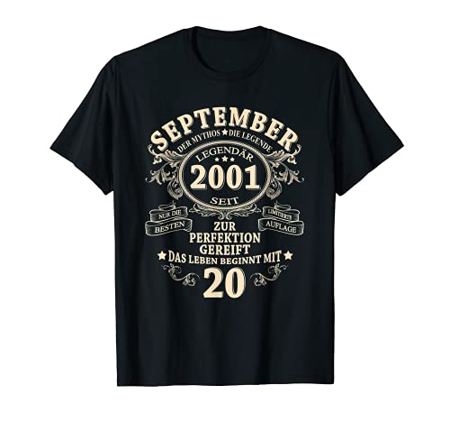 20. Geburtstag Geschenk Mann Legendär Seit September 2001 T-Shirt