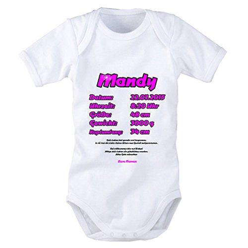 SHIRT-TO-GO Baby Body als Geschenkidee in pink für Mädchen: Name,...