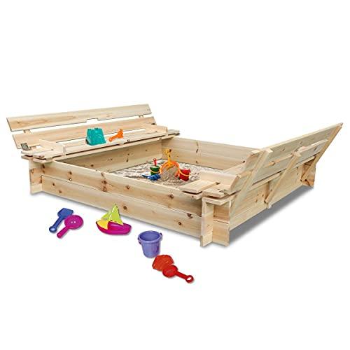 Coemo Sandkasten mit Deckel 120x120 klappbar aus Holz 2...