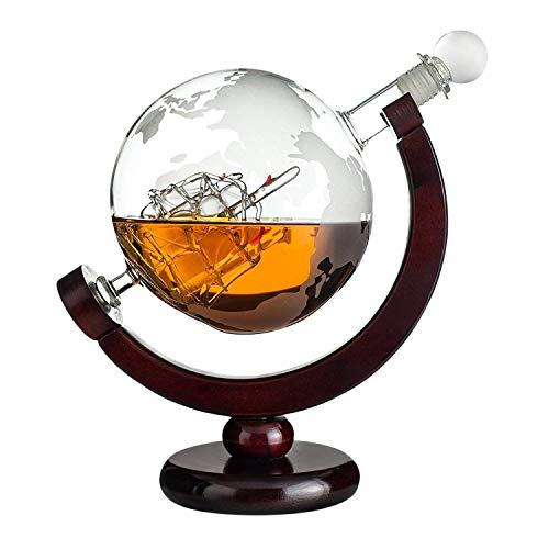 Geschenke 24 Whisky Karaffe Globus: gravierte Whiskey Karaffe Glas mit...