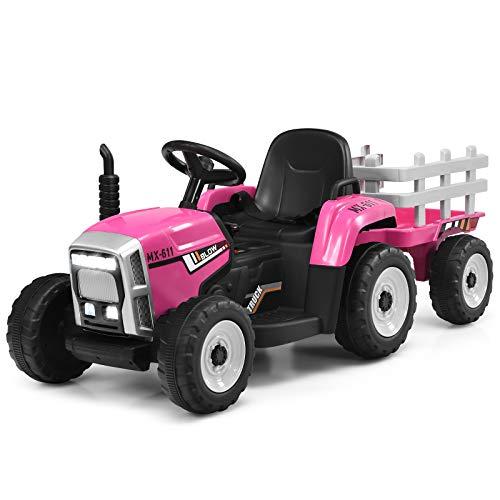 DREAMADE Traktor mit Abnehmbarem Anhänger, Kindertraktor mit...