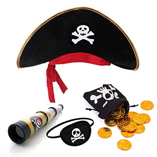 papapanda Piratenhut Augenklappe Karibik Fernrohr Gold Münzen...