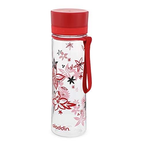Aladdin Aveo Water Bottle 0.6L Red Floral Print – Weite Öffnung...