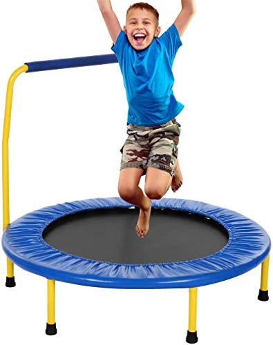 Fitness-Trampolin leise Gummiseil Federung Haltegriff Randabdeckung, Garten Trampolin für Jumping (Blue, Ø...