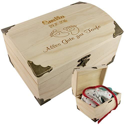 Geschenke 24 Holz-Schatzkiste zur Taufe mit...