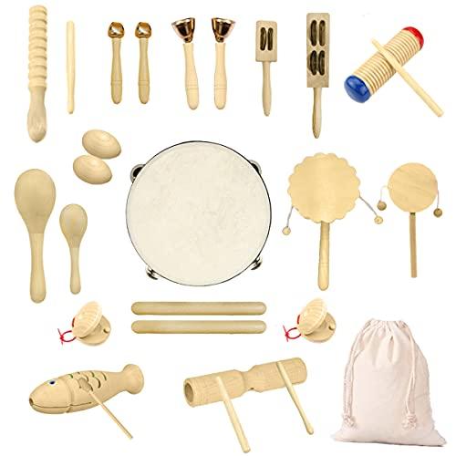 Ulifeme Holz Musikinstrumente Set, 27 Stück Instrumente für Kinder,...