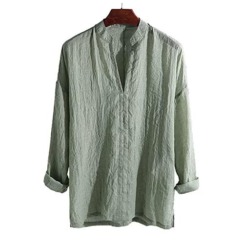 XIAOHUAHUA Herrenhemden mit V-Ausschnitt, Lässige, Locker Sitzende...