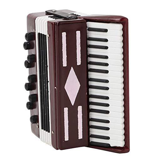 FTVOGUE Rotes Akkordeon Modell Miniatur Holz Instrumental Modell mit...