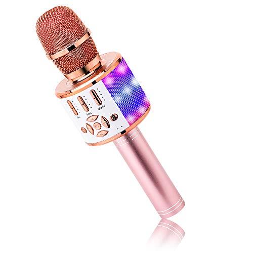 BONAOK Karaoke Mikrofon Bluetooth, 4 in 1 Drahtlos Karaoke...