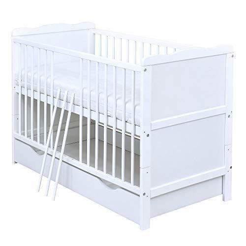 Baby Delux Babybett Kinderbett Juniorbett Jack 140x70 Weiß umbaubar mit Schublade Matratze