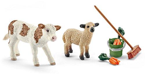 Schleich 41422- Spielzeugfigur, Stallpflege mit Kalb...