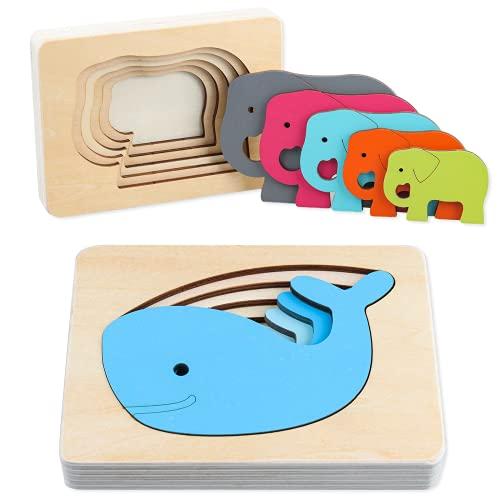 Junyobee Holzpuzzle - Holzspielzeug Puzzle - Holz Steckpuzzle -...