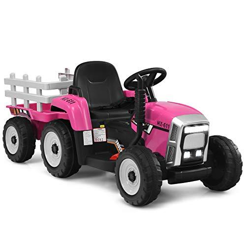 COSTWAY 12V 3-Gang Traktor mit abnehmbarem Anhänger und 2,4G...