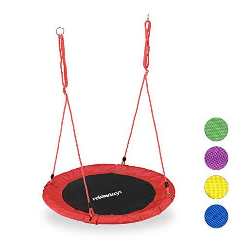 Relaxdays Unisex– Erwachsene, rot Nestschaukel, rund, für Kinder...