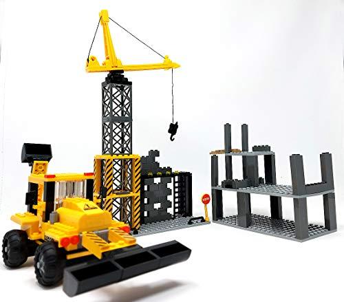 Bausteine Haus Rohbau, Baustelle mit Kran, Bagger und Bauarbeiter Minifiguren, Konstruktionsspielzeug