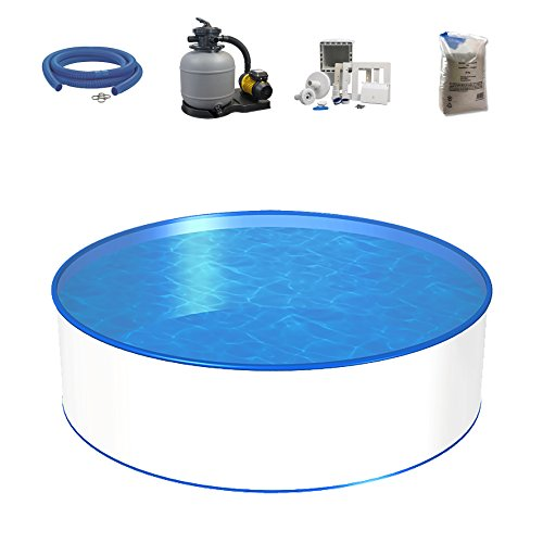 Poolset, Größe & Tiefe wählbar, 0,8mm Stahlwand, 0,6mm Poolfolie, Sandfilteranlage SF und Filtersand,...