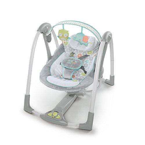 Ingenuity, Hugs & Hoots zusammenklappbare und tragbare Babyschaukel mit 5 Schaukelgeschwindigkeiten, 8...