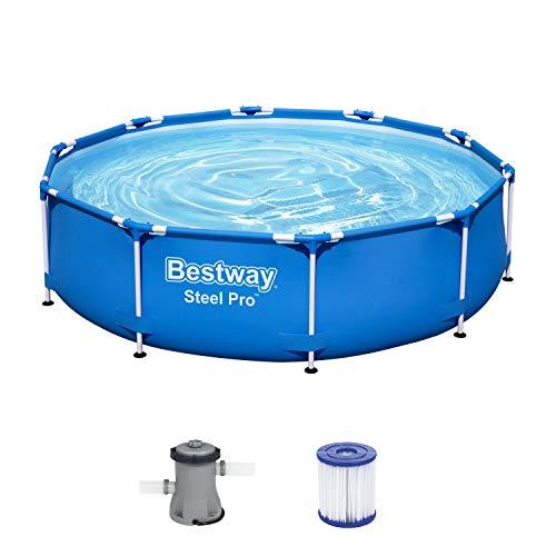 Bestway Steel Pro Frame Pool, 305 x 76 cm, Set mit Filterpumpe, rund,...