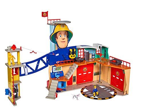 Simba  109251059 - Feuerwehrmann Sam MegaFeuerwehrstation XXL große Feuerwehrwache inklusive Sam Spielfigur,...