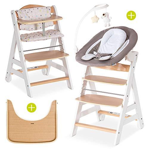 Hauck Beta Plus Newborn Set Deluxe - Baby Holz Hochstuhl ab Geburt mit Liegefunktion - inkl. Aufsatz für...
