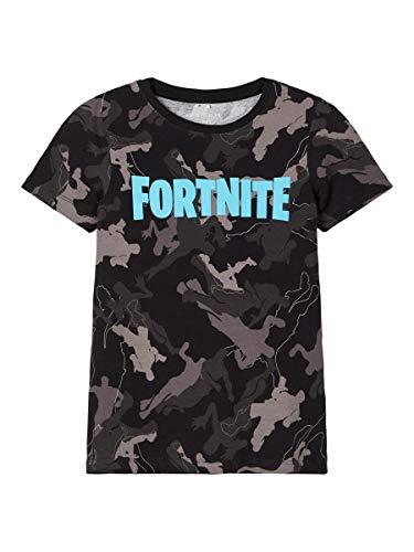 NAME IT Jungen Print T-Shirt aus Bio-Baumwolle Black 146-152