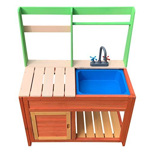 Wiltec Kinderküche Outdoor 72x39,5x91,1cm aus Holz, Matschküche für...
