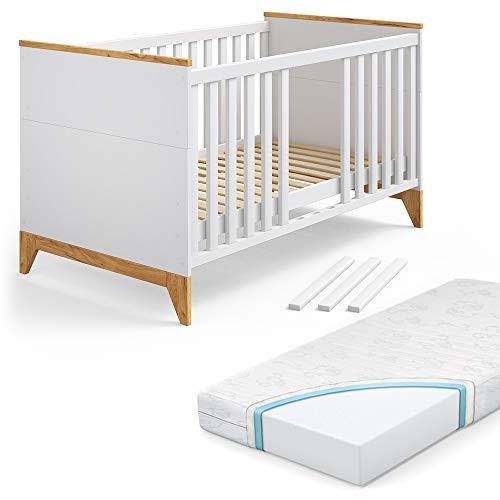 VITALISPA Babybett Malia Kinderbett Gitterbett Beistellbett Jugendbett 140x70 cm inklusive Matratze 3 in 1 -...