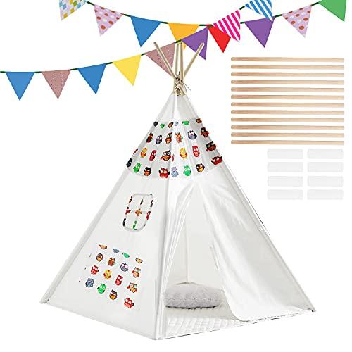m zimoon Tipi Zelt für Kinder mit Farbiger Flagge, Tragbares...