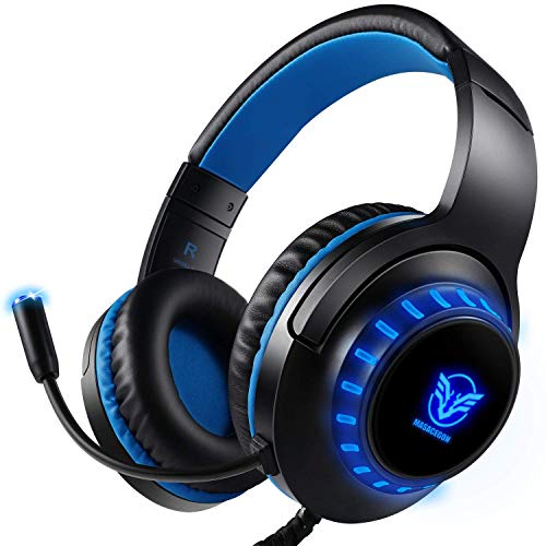 Pacrate PC Gaming Headset für PS4 Xbox One PC, Rauschunterdrückung Over-Ear LED PS4 Headset - Kristall...