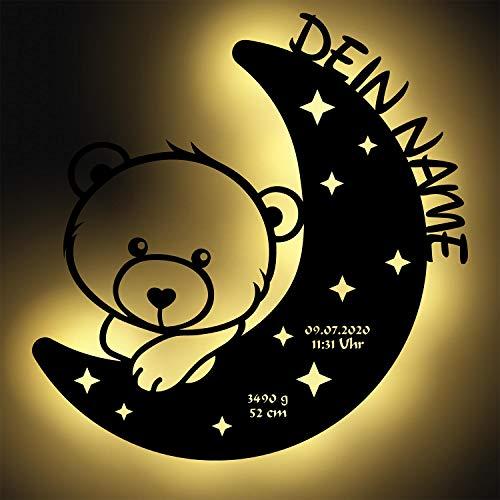 LED Nachtlicht Bär auf Mond mit Name personalisiert I Besondere...