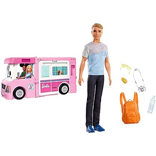 Barbie GHL93 - 3-in-1 Super Abenteuer-Camper mit Zubehör, Camping...