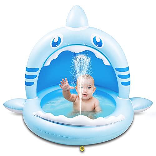 Weokeey Baby Pool mit Dach, Hai Baby Planschbecken als Sonnenschutz...