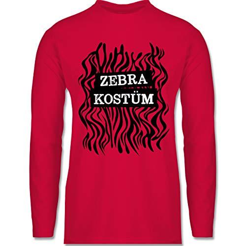 Shirtracer Karneval & Fasching - Zebra Kostüm Fellmuster - M - Rot - Langarm - BCTU005 - Herren Langarmshirt