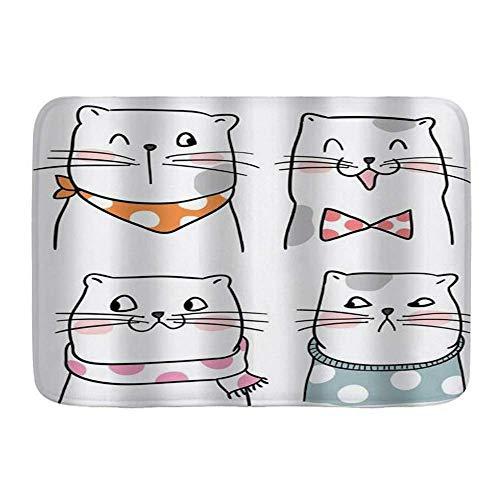 Fußmatten, Cartoon Lustiger lächelnder Ausdruck Katzenschals...