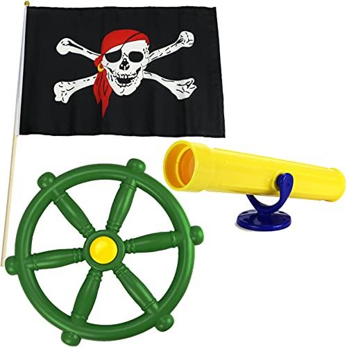 Anschütz Piratenset Zubehör für Spielturm Steuerrad Piratenflagge...