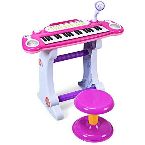 COSTWAY 37 Tasten Klaviertastatur mit Hocker, Kinder Keyboard mit...