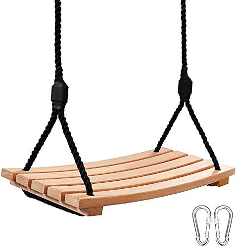 Arwinny Holzschaukel für Erwachsene und Kinder mit verstellbarem Seil...