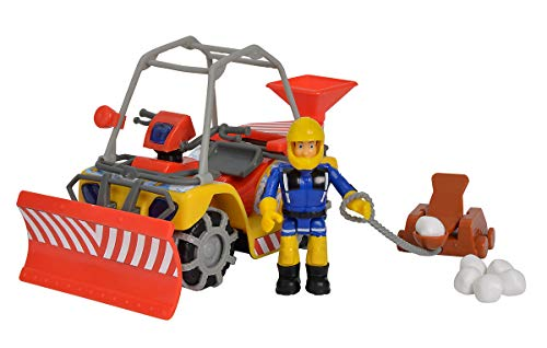 Simba 109251049 - Feuerwehrmann Sam Mercury-Schnee- Quad mit Figur / Schneeball- Katapult