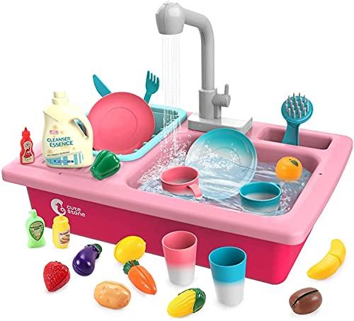 cute stone Küchenspüle Spielzeug Set mit Warmwasserhahn Farbwechsel...