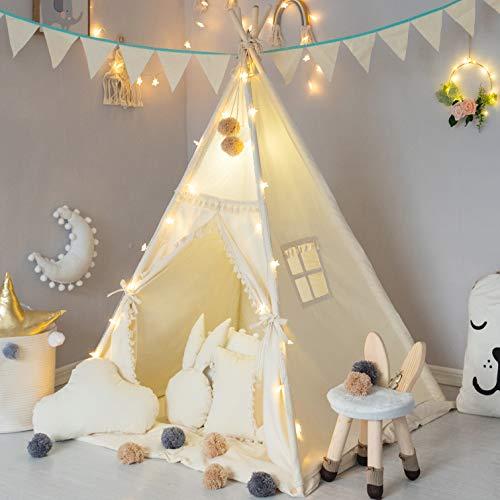 TreeBud Kinder Tipi Zelt mit gepolsterter Matte, Banner, Lichterkette,...